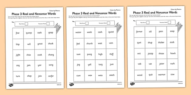 Phase 3 Colour by Phoneme Real and Nonsense Words Activity Sheet Pack - phase 3, colour, phoneme, real, nonsense, words, activity, worksheet