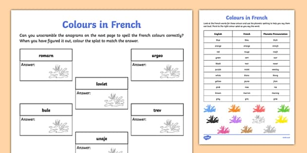 French Colours Activity Sheet - french, colours, activity, vocabulary, worksheet