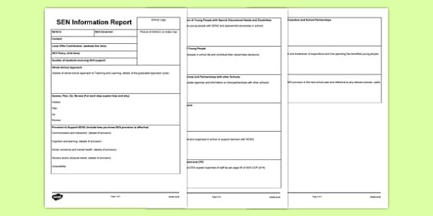 SEN Information Report Planning Frame Secondary - sen, information, report, planning, frame, secondary