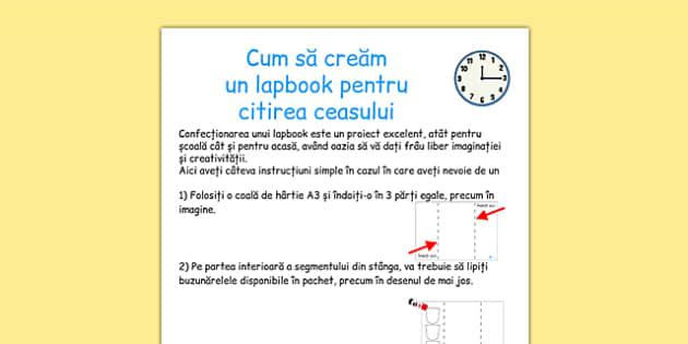 Citirea ceasului, Instructiuni pentru Lapbook - unitati de masura - romanian, lapbooks, instructions