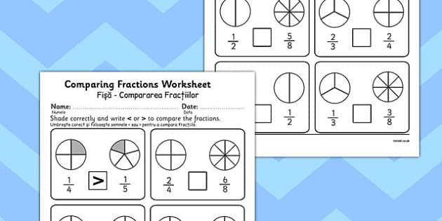 Comparing Fractions Worksheet Romanian Translation - romanian