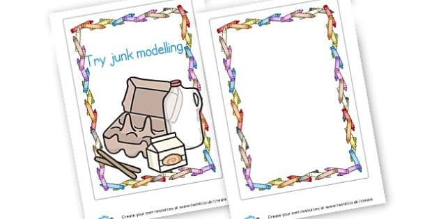 junk modelling sign - Design & Technology Primary Resources - Art, design, create, craft
