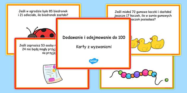 Karty z wyzwaniami Dodawanie i odejmowanie do 100 po polsku