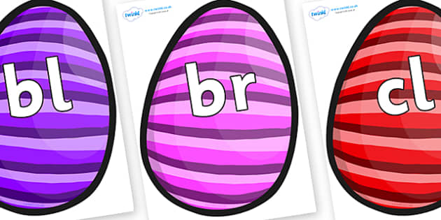 Initial Letter Blends on Easter Eggs (Stripes) - Initial Letters, initial letter, letter blend, letter blends, consonant, consonants, digraph, trigraph, literacy, alphabet, letters, foundation stage literacy