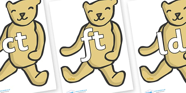 Final Letter Blends on Old Teddy Bears - Final Letters, final letter, letter blend, letter blends, consonant, consonants, digraph, trigraph, literacy, alphabet, letters, foundation stage literacy