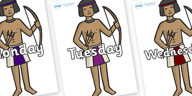 Days of the Week on Egyptian Archers - Days of the Week, Weeks poster, week, display, poster, frieze, Days, Day, Monday, Tuesday, Wednesday, Thursday, Friday, Saturday, Sunday