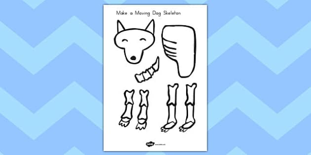 Make a Moving Dog Skeleton A4 to Support Teaching on Funnybones - science, design, craft, paper, split pins, cut, out, scissors, model, display