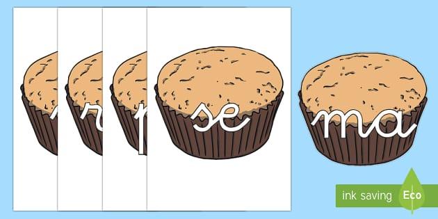 Tarjetas de sílabas: Cupcakes - lecto, leer, primeros sonidos, comida