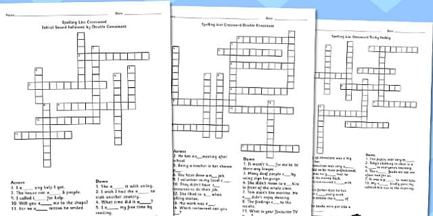 Year 5-6 Spelling List Crossword Pack - crossword, spelling, pack