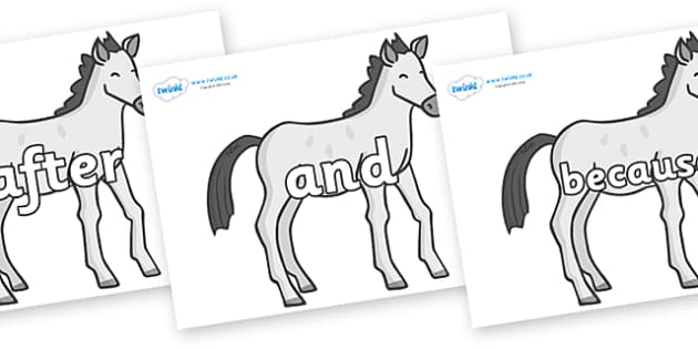 Connectives on Ponies - Connectives, VCOP, connective resources, connectives display words, connective displays