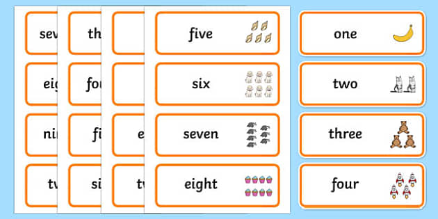 Number Word Cards - number, word, cards, numbers, word cards