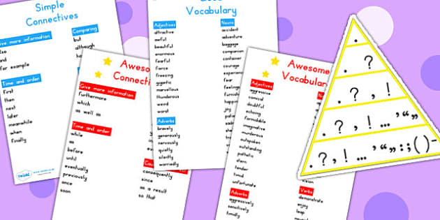 Vowels Connectives Openers Puntuation Table Cards - VCOP, cards