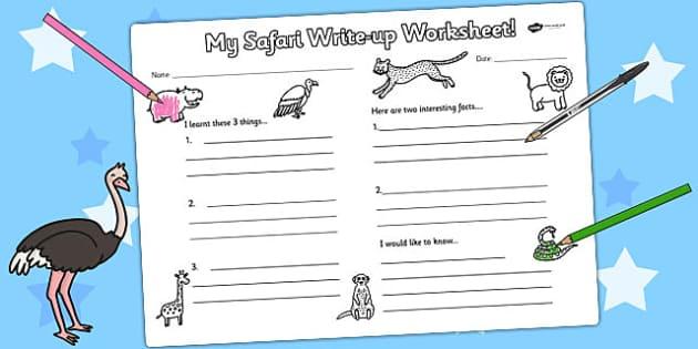 Safari Write Up Worksheet - animals, writing template, write
