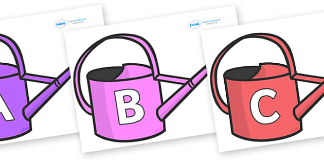 A-Z Alphabet on Watering Cans - A-Z, A4, display, Alphabet frieze, Display letters, Letter posters, A-Z letters, Alphabet flashcards