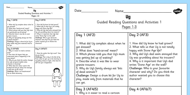 Guided Reading Questions Pages 1-3 to Support Teaching on Ug - ug, guided reading