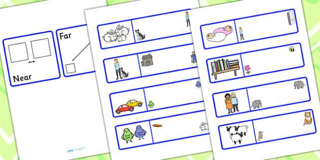 Near And Far Picture Description Cards - positional language