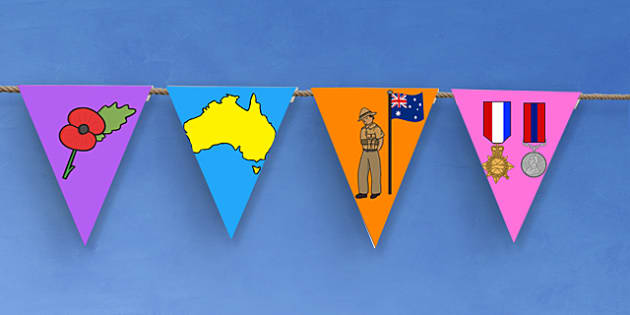 Anzac Day Bunting - anzac day display, display bunting, flags