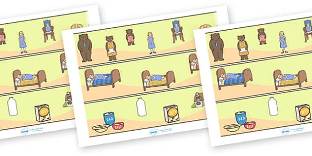 Goldilocks and the Three Bears Display Borders - Goldilocks, display border, classroom border, border, traditional tales, tale, fairy tale, three bears, porridge, cottage, beds