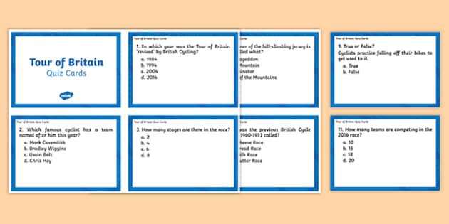 Tour of Britain Quiz Cards