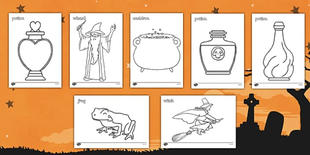 Magic Colouring Sheets - witch, magic, colouring, fine motor skills, poster, worksheet, vines, A4, display, wizard, spell, cauldron, wizard's tower
