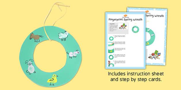 Fingerprint Spring Wreath Craft Instructions - finger, spring