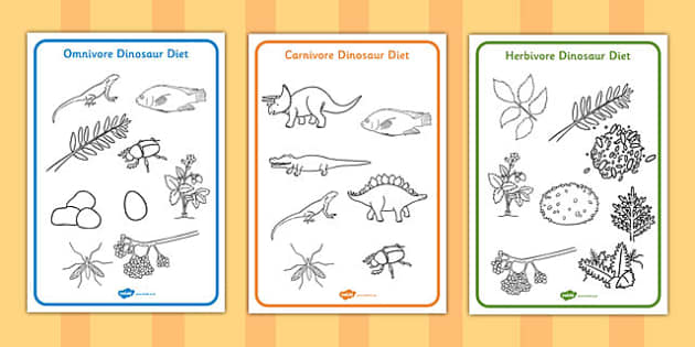 Dinosaur Diet Colouring Sheets - dinosaur, diet, colouring, sheet