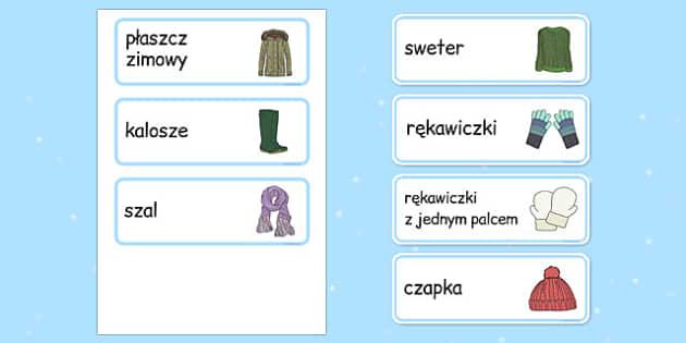 Karty ze słownictwem Ubiór zimowy po polsku - zima, ubrania