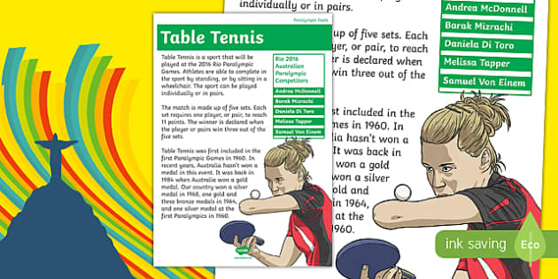 Rio Paralympics 2016 Table Tennis Display Poster