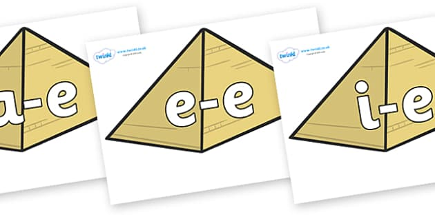 Modifying E Letters on Pyramids - Modifying E, letters, modify, Phase 5, Phase five, alternative spellings for phonemes, DfES letters and Sounds