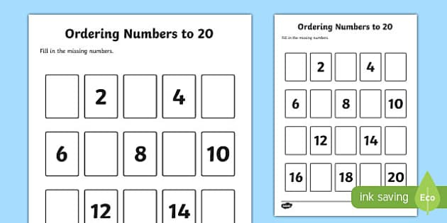 Missing Numbers to 20 Ordering Activity