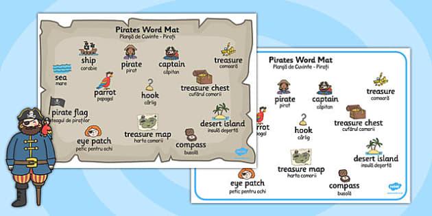 Pirate Word Mat Romanian Translation - romanian, pirate, word mat, word, mat