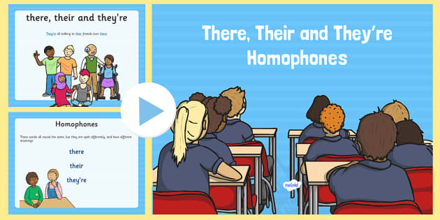 There, Their and They're Homophones PowerPoint - homophones, there, their, they're