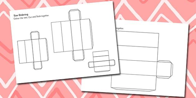 Cuboid Size Ordering Nets - 3d, shape, cube, shape net, size, net