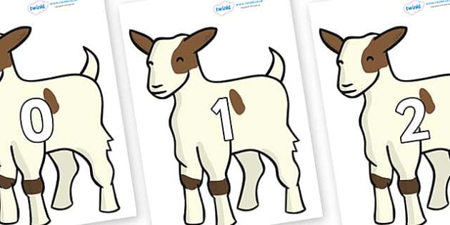 Numbers 0-50 on Baby Goats - 0-50, foundation stage numeracy, Number recognition, Number flashcards, counting, number frieze, Display numbers, number posters