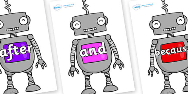 Connectives on Robots - Connectives, VCOP, connective resources, connectives display words, connective displays