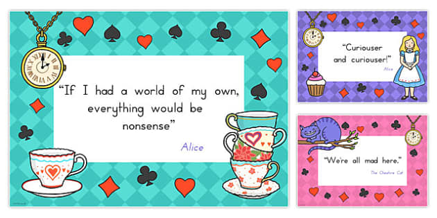 Alice in Wonderland Quotes Display Posters - australia, alice, wonderland