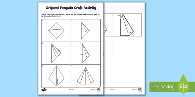 Origami Penguin Craft Activity Sheet - Supply Teacher Survival Package, origami, art, simple, worksheet, last minute art activities, craft,