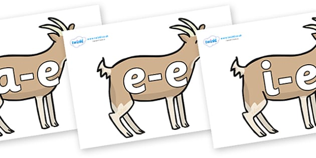 Modifying E Letters on Goats - Modifying E, letters, modify, Phase 5, Phase five, alternative spellings for phonemes, DfES letters and Sounds