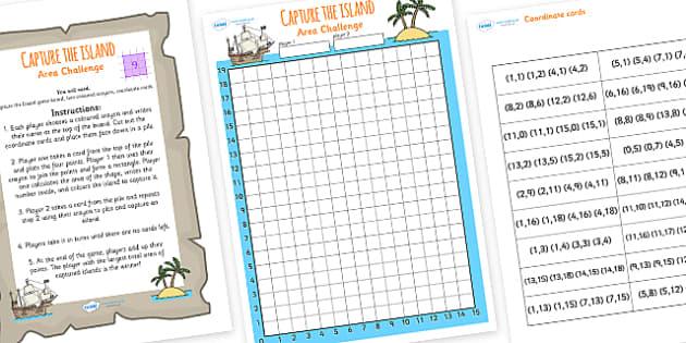 Co-ordinates and Area Island Game - area challenge game, areas, co-ordinates game, area challenge, numeracy areas, ks2 numeracy, shape areas, squared