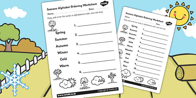 Season Alphabet Ordering Worksheet Differentiated - seasons, a-z