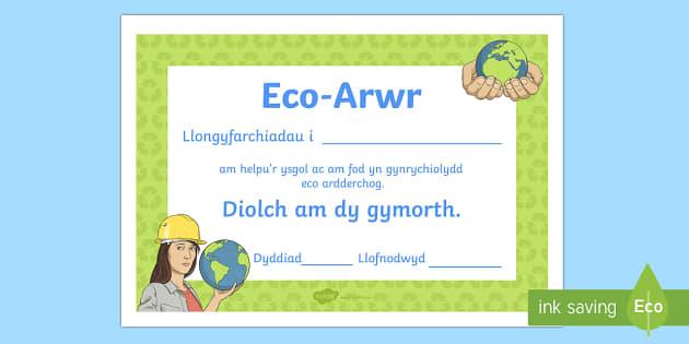 Tystysgrif Gwobr Eco Arwr Tystysgrifau