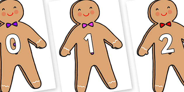 Numbers 0-100 on Gingerbread Man - 0-100, foundation stage numeracy, Number recognition, Number flashcards, counting, number frieze, Display numbers, number posters