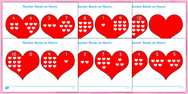 Valentine's Day Number bonds to 10 (on Hearts) - Valentine's Day, Valentine, love, Saint Valentine, heart, kiss, number, bonds, matching cards, number bonds to, counting, number recognition, cupid, gift, roses, card, flowers, date, letter, girlfriend