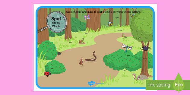 Phase 5 oy Words Minibeasts Scene Magnifying Glass Activity Sheet - phonics, letters and sounds, phase 5, oy sound, magnifier, magnifying glass, find, activity, group,