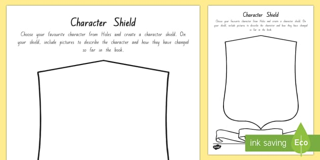 Character Shield Activity Sheet - New Zealand Chapter Chat, Chapter Chat NZ, Chapter Chat, Holes, Years 5-6, Character