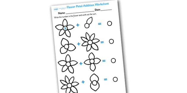 Numbers on Flowers Addition Worksheet - flower addition, flower