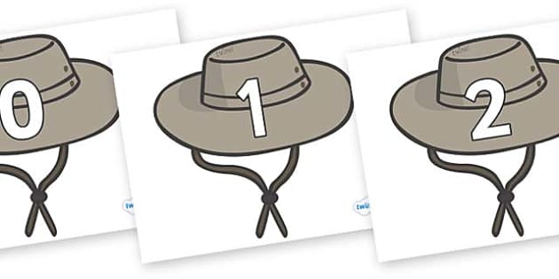 Numbers 0-31 on Cowboy Hats - 0-31, foundation stage numeracy, Number recognition, Number flashcards, counting, number frieze, Display numbers, number posters