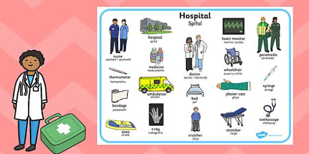 Hospital Word Mat Romanian Translation - romanian, hospital