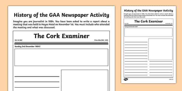 History of the GAA Newspaper Activity - history, journalist, GAA, Hurling, gaeilge, ireland, irish, worksheet, activity, newspaper, article