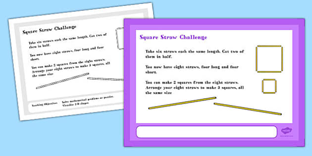 Square Straw Maths Challenge A4 Display Posters - challenge, math